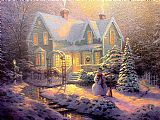 Thomas Kinkade Blessings of Christmas painting