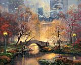 Garden paintings - Central Park in the Fall by Thomas Kinkade