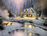 Thomas Kinkade Deer Creek Cottage painting