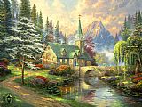 Thomas Kinkade Dogwood Chapel painting