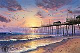 Thomas Kinkade Footprints in the sand painting