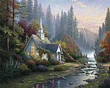 Thomas Kinkade Forest Chapel painting