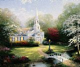 Thomas Kinkade Hometown Chapel painting