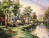 Thomas Kinkade Hometown Lake painting