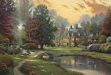 Thomas Kinkade Lakeside Manor painting