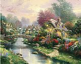 Thomas Kinkade Lamplight bridge painting