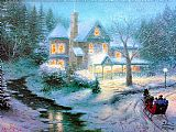 Thomas Kinkade Moonlit Sleigh Ride painting