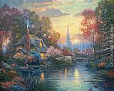 Thomas Kinkade Nanette's Cottage painting