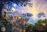 Thomas Kinkade Pinocchio Wishes Upon a Star painting