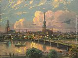Thomas Kinkade Sunset Over Riga Latvia painting