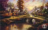 Thomas Kinkade Sunset on Lamplight Lane painting