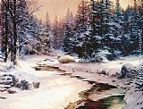 Thomas Kinkade Winter's End painting