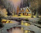 Thomas Kinkade deer creek cottage I painting