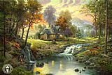Garden paintings - mountain retreat by Thomas Kinkade