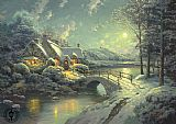 Thomas Kinkade xmas moonlight painting