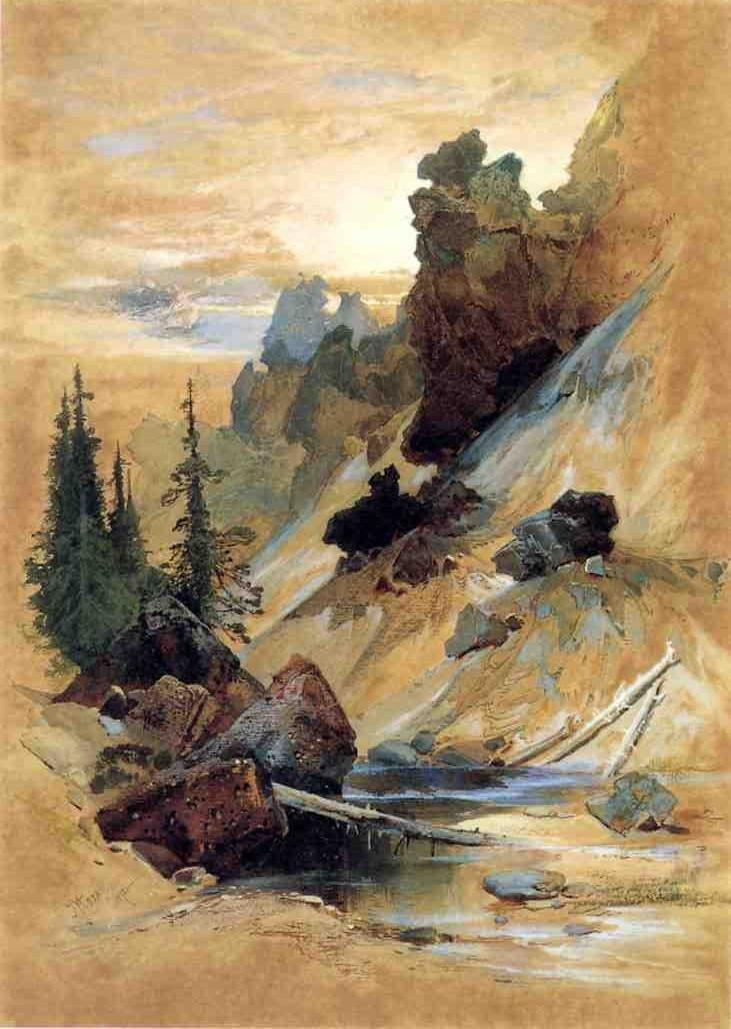 Thomas Moran The Devil's Den on Cascade Creek