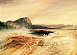 Thomas Moran Giant Blue Spring, Yellowstone painting