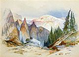 Thomas Moran Tower Falls and Sulphur Mountain,Yellowstone painting