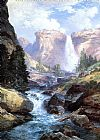 Landscape paintings - Waterfall in Yosemite by Thomas Moran