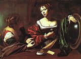 Mary Magdalene paintings - Martha and Mary Magdalene By Merisi Carravaggio by Unknown
