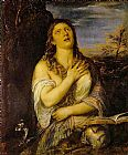 Mary Magdalene paintings - Penitent Mary Magdalen By Titian by Unknown