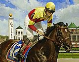 Horse Racing paintings - Fusaichi Pegasus by Unknown