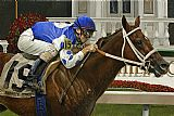 Horse Racing paintings - Smarty Jones by Unknown