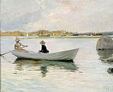 Unknown Boats in Harbour by Albert Edelfelt painting