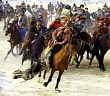Horse Racing paintings - Buzkashi by Unknown