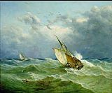 Unknown Lowestoft Trawler in Rough Weather painting