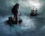Unknown Mermaid and pirate ship painting