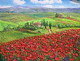 Unknown TUSCANY POPPIES painting