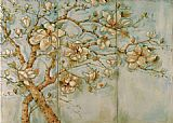 Unknown White Magnolia Triptych painting