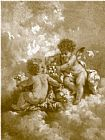 Unknown charles lutyens cherubs making posies painting