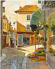 Unknown cobblestone village by marilyn simandle painting