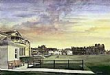Unknown kenneth reed sunset at saint andrews old course painting
