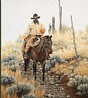 Unknown lone cowboy painting