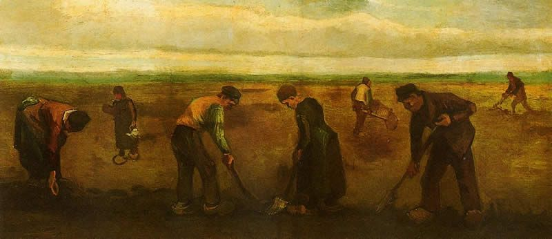 Vincent van Gogh Farmers Planting Potatoes