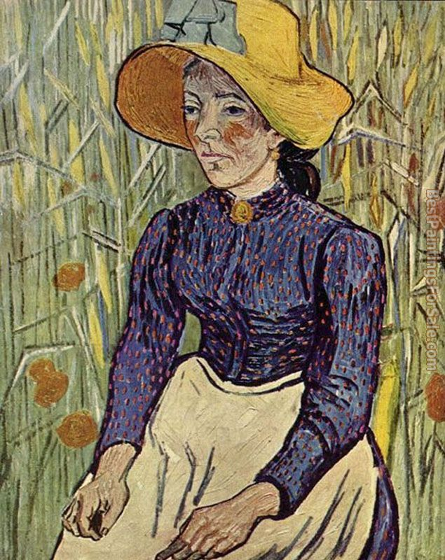 Vincent van Gogh Peasant Woman Against a Background of Wheat