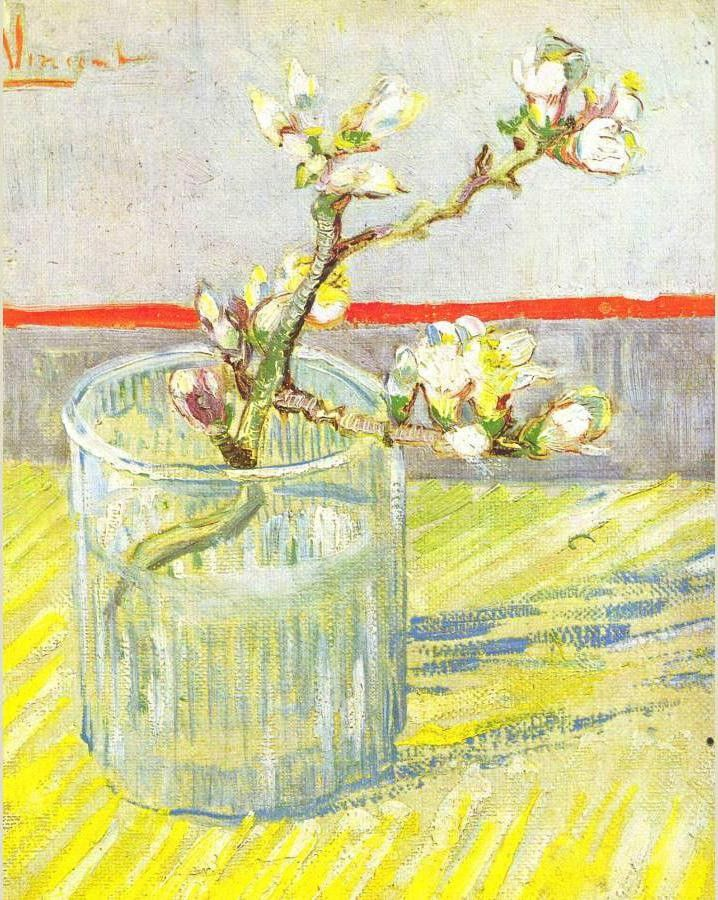 Vincent van Gogh Sprig of Flowering Almond Blossom in a glass