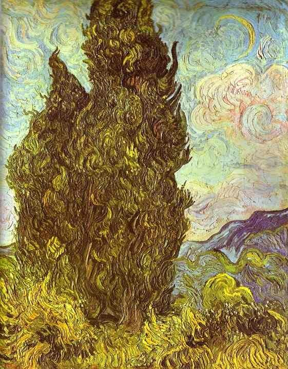 Vincent van Gogh Two Cypresses Saint-Remy