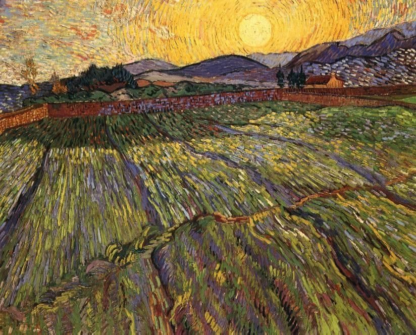 Vincent van Gogh Wheat Field with Rising Sun