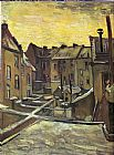 Vincent van Gogh Backyards of Old Houses in Antwerp in the Snow painting