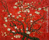 Vincent van Gogh Branches of an almond tree in Blossom in Red painting