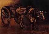 Vincent van Gogh Cart with Red and White Ox painting