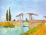 Vincent van Gogh Drawbridge with a Lady with a Parasol painting