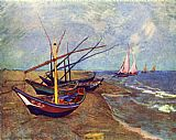 Vincent van Gogh Fishing Boats on the Beach at Saints-Maries painting