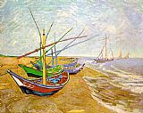 Beach paintings - Fishing Boats on the Beach by Vincent van Gogh