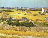 Vincent van Gogh Harvest at La Crau_ with Montmaiour in the Background painting