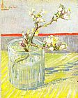 Vincent van Gogh Sprig of Flowering Almond Blossom in a glass painting